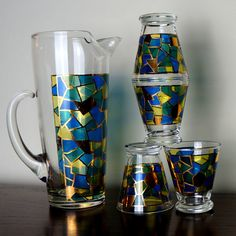 Geometric STAINED GLASS Five 5 Piece Gold by LightlySaucedRetro, $109.99