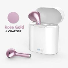 Bluetooth Dynamic Stereo Ear Pod Headphones With Charging Box - Rose Gold With Charger Box - Headphones Iphone Headphones, Bluetooth Earbuds Wireless, Sports Headphones, Bluetooth Headphones, Gaming Headset, Ear Phones, Apple Iphone, Christmas 2019, Nurses