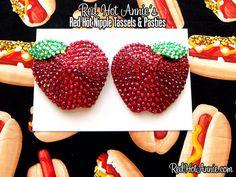 Rhinestone Red Delicious Apples Burlesque Pasties (Red)
