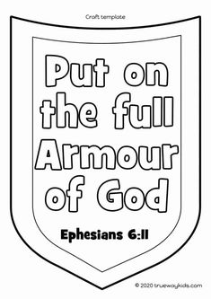 The Armor of God - FREE printable coloring page Bible Coloring Pages, Free Printable Coloring Pages, Coloring Pages For Kids, Free Printables, Ephesians 6 11, Preschool Bible Lessons, Bible Lessons For Kids, Armor Of God, Sprouts