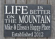 Mountain House Decor, Life Is Better Mountains Sign Personalized Family Name Signs, Custom Cabin Wood Plaque Wall Art, My Happy Place Signs, Established Date Sign