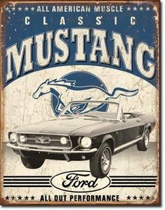 Amazon.com - Classic Mustang Distressed Retro Vintage Tin Sign