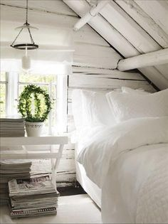 There is nothing better than a crisp white bedroom :) .well maybe a crisp white bedroom in a loft. Attic Rooms, Attic Bed, Attic Bathroom, Attic Spaces, Upstairs Bedroom, Master Bedroom, Bathroom Interior, Attic Floor, Small Spaces