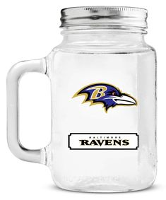 Baltimore Ravens Mason Jar Glass With Lid Special Order