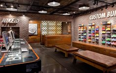 Global Creative Director & Retail Experience DesignWorked with store design, brand design, and retail marketing to create holistic retail environment for Nike inc. Gym Design, Retail Design, Design City, Shoe Store Design, Shoe Shop, Running Stores, Nike Retail, Golf Shop, Shoe Display