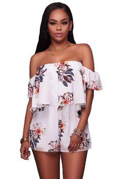 9653cc51bdf Flutter Sleeve Off Shoulder Floral Romper. dropship-clothes.com. Strapless  PlaysuitShort ...