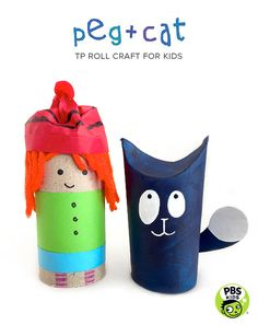 Young fans of Peg + Cat on PBS KIDS will love making their favorite energetic friends from TP Rolls. Toilet roll crafts for kids @pbsparents
