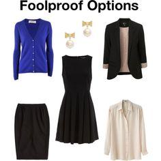 The classics: pencil skirt, cardigan, blazer, button-up, modest black dress, and pearls. I need a blazer.