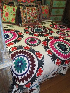 vintage Suzani hand embroidered bed cover