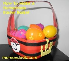 How to make a homemade Easter basket for kids pirate basket Fun Diy Crafts, Homemade Crafts, Home Crafts, Crafts For Kids, Homemade Easter Baskets, Basket Crafts, How To Make Homemade, Egg Hunt, Easter Recipes