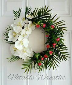 Charmant Spring Grapevine Wreath Orchid Wreath Coastal Summer Wreath Tropical Wedding