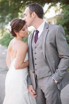 adore a plum + gray suit color combination  | J + B |  Kelly Hancock Event Planning www.kellyhancockevents.com | Blue Lane Studios