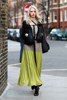 LONDON   Black Leather Jacket, Beige and Green Maxi Dress, Photo By: Phil Oh