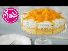 Lockerer Biskuit mit einer Quark Sahne Creme und Mohn. Dekoriert ist die Torte mit Mandarinen und Aprikosenmarmelade. Die Torte ist super einfach in der Herstellung!