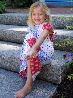Patchwork perfection finds fabulous form in the scrumptiously cute Minny dress. Your heart might just melt when you see your little girl shining in this old fashioned cotton frock made up of no less than four of our sweet prints for the season.