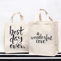 Give your bridal party the best carryall of all with these sassy canvas cotton totes.