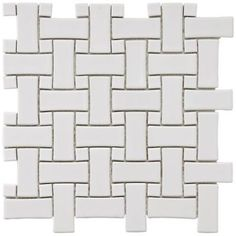 Merola Tile Basket Weave White 9-3/4 in. x 9-3/4 in. Porcelain Mosaic Floor and Wall Tile-FKOBWM60 at The Home Depot