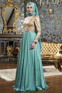 Mevra Gold Mint Günyeli Abiye Elbise