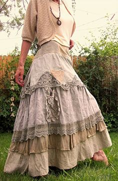 The Taupest Bustleback OverDyed Upcycled Tattered Long Dreamy SKIRT AuraGaia 6-2X Battenburg Lace, Vintage OverDyed Whitework Embroidery Butterflies; random patches, ruffles, crochet lace, doily pockets, taupe, safari gray, mushroom, chamois, cafe au lait, camel. in linens, muslin, cottons, laces.