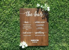 The Bar Menu Sign Bar Menu Sign Drink Menu by BlueLionessDesign Drink Signs, Bar Signs, Wedding Events, Our Wedding, Bar Menu, Rustic Wedding Signs, Drink Menu, Cocktails, Drinks
