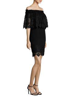 Badgley Mischka Off-the-Shoulder Lace Cape Dress Best Designer Dresses, Cape Dress, Lace Dress Black, Badgley Mischka, Day Dresses, Floral Lace, Off The Shoulder, Tory Burch, Ballet Skirt