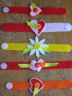 Valentine Wrist-lets (felt bracelets) kid friendly craft -- Great intro to hand stitching for my Activity Day girls!