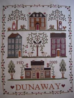 LHN - Little House Neighborhood with surname instead of the charted phrase Cross Stitch House, Cross Stitch Samplers, Cross Stitching, Cross Stitch Embroidery, Cross Stitch Designs, Cross Stitch Patterns, Love Knitting Patterns, Primitive Embroidery, Applique Quilts