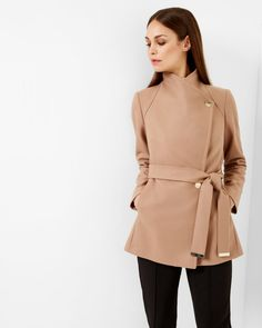 So pretty, sophisticated: Short wrap coat - Camel | Jackets & Coats | Ted Baker