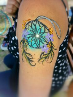 Dreamcatcher Body Art, turquoise. Artist: Leslie Heidner, Epic Body Art. Powered by Cameleon Paint USA. Feathers, native, dreamcatcher, tribal body painting body art face painting makeup halloween costume glitter girl beautiful tattoo ink artist design hippie gypsy boho bohemian