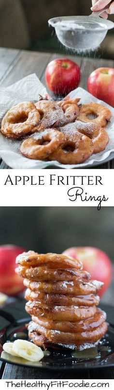 Warm and crispy, these apple fritter rings take apples to a whole new level! Top them with powdered sugar and caramel sauce to make your mouth water. #sponsored: