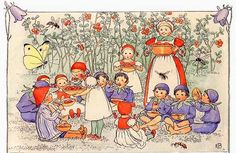 Blueberry boys and Cranberry girls, Peter in Blueberry Land book   Elsa Beskow