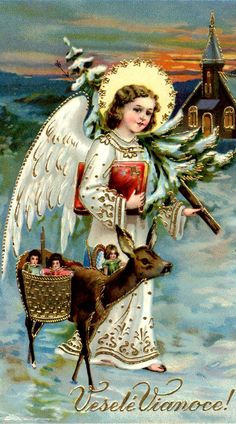 Vintage christmas card. (scandinavian... ) Christmas angel in white with gilt aureole, christmas tree on shoulder, and red gilded book under his arm. . Fawn wearing basket full of toys, by his side. Embossed and gilded