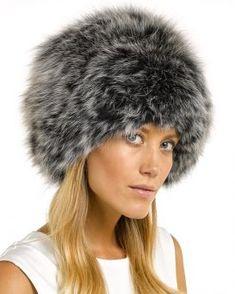 fcca5608f7b Eclipse Knit Fox Fur Hat in Black Frost Winter Hats For Women