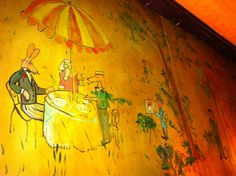 "35 E 76th Iconic Hotel Bar at the Carlyle Bemelmans Bar in New York, NY mural painted by the author of ""Madeline"" Ludwig Bemelman"