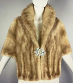 ViNtAgE Mink Real Fur Cape Stole Opera Coat by MothFoodVintage