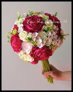 Wedding bouquet peony roses hydrangea