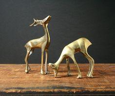 Brass deer vintage brass figurines by cristinasroom on Etsy, $21.00