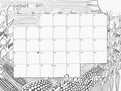 August 2017 Corn Moon Calendar Coloring Pages Free Printable