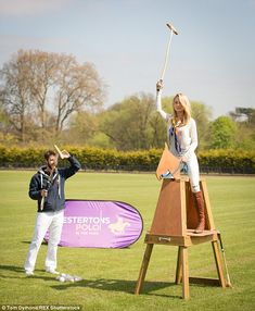 Practice: She had a go on a wooden horse before jumping on the real thing...