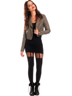 Suspender Tights        Full tights with opaque legs and sheer top. Gives the illusion of wearing garters. One size fits most.       The Details     *Brand - Pretty Polly       *93% Nylon 6% Elastane 1% Cotton     *One size fits most                 $38.00 USD