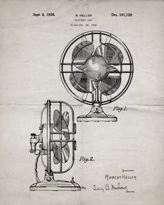 You will love this unique archive print of a 1936 Electric Fan patent, presented as a vintage industrial or steampunk style drawing. It is part of our curated collection of the most unique, novel and