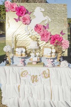 Gorgeous unicorn birthday party! See more party planning ideas at CatchMyParty.com!