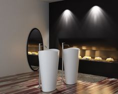 Lavabo colonne totem PB2175 - 60 x 37 x 90 cm - blanc - Solid Stone Le monde de la salle de bain Lavabos