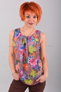 Блуза В0420  Цена: 490 руб  Размеры: 42-50    Полупрозрачный стильная блуза с округлым вырезом горловины.  Выполнено из легкого материала с контрастным рисунком.  Модель свободного кроя, без рукавов.  Состав: 100 % шифон.  Рост модели на фото: 156 см.  (маломерит на размер)     http://odezhda-m.ru/products/bluza-v0420     #одежда #женщинам #блузкирубашки #одеждамаркет