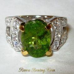 Cincin Wanita Permata Peridot 2.50 carat Silver 925 Ring 6 US