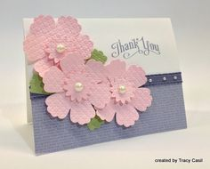 handmade thank-you card ... three pink flowers cut with Blossom Punch .. like the pearls and the placement ... sweet card ... Stampin' Up!