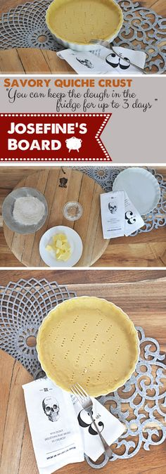"""125g of Salted Butter cut into smaller cubes - 300 ml Normal Flour - 3 Tablespoons cold Water - Mix ingridents - Wrap the dough in cling film and let the dough rest for at least 30 minutes in the fridge.  """" You can keep the dough for at least 3 days in the fridge """" Recipe from Josefine's Board and www.onthepatio.co.za Salted Butter, Cubes, Quiche, Camembert Cheese, Rest, Cold, Canning, Water, Recipes"""