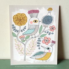 Spring Birds and Flowers, art print by Flora Chang | www.HappyDoodleLand.com | www.etsy.com/listing/232042467