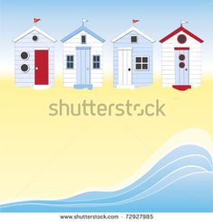 A row of beach huts against blue sky and sand and sea. Space for your text. EPS10 vector format. - stock vector