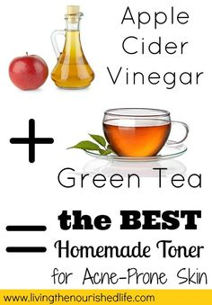 Homemade Toner for Acne Recipe 3/4 cup strong green tea 1/4 cup raw apple cider vinegar That�s it! Simply pour the green tea and apple cider vinegar into a glass bottle or jar with a lid. Use a cotton ball to apply your homemade toner after cleansing